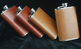 Wholesale Leather Wine Flask - Wine Flask 5oz Portable Stainless Steel Flagon Faux Leather Wine Bottle Retro Pocket Hip Flask Russian Flagon Drinkware 2017
