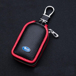 Wholesale key cases - SUBARU Leather Car Key Case Cover for SUBARU forester outback xv legacy 3 button smart key case key rings