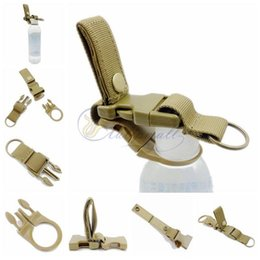 Wholesale Belt Key Clips - Multifunction Hanging Buckle Mineral Water Bottle Clip Drink Belt Holder Keychain Drinks Bottle Molle Holder with Key chain for Climbing Hik