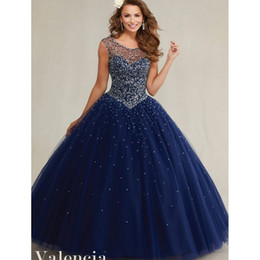 Wholesale Debutante Gowns Tulle - New Beautiful Midnight Blue Backless Quinceanera Dress 2017 Beading Sequin Beaded Lace-Up Cap Sleeves Debutante Gown QC249