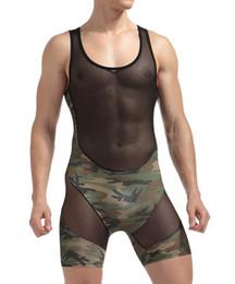 2019 vedere i bodysuits Intimo di nylon Mens biancheria intima sexy trasparente Vedere attraverso patchwork Camouflage Boxer maschio Pantaloncini Bodysuits Gay lingerie sexy vedere i bodysuits economici