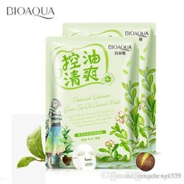 Wholesale Cosmetic Skin Treatment - Green Tea Oil Control Moisturizing facial face mask sheet fresh not greasy brighten the skin care cosmetics brand treatment mask
