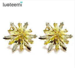 Wholesale Peridot Gold Charm - LUOTEEMI Luxury Marquise Cut Peridot Cubic Zircon Flower Stud Earrings for Women Evening Sexy Bar Jewelry Champagne Gold-Color