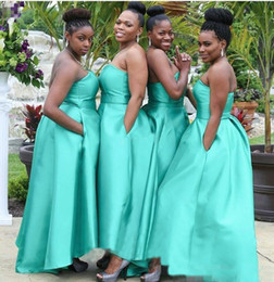 Wholesale Strapless Turquoise Bridesmaid Dresses - Hi Lo Arabic Style Bridesmaid Dresses With Pockets Turquoise Satin Plus Size 2017 Negerian African Wedding Guest Maid of Honor Party Gowns