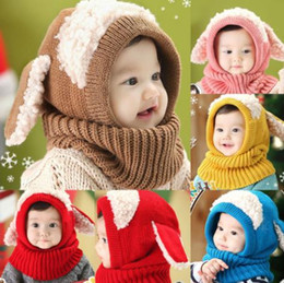 Wholesale Toddler Earflap Hat - Winter Rabbit Ear Kids Baby Hats Lovely Infant Toddler Girl Boy Beanie Cap Warm Baby Hat+Hooded Knitted Scarf Set Earflap Caps