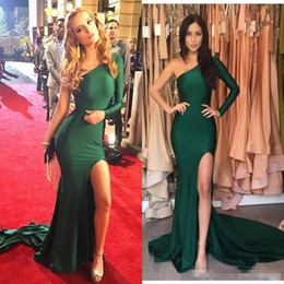 stretch satin dress gown Promo Codes - Hot Emerald Green Sexy Split Evening Dresses 2017 Mermaid Stretch Satin Long Sleeves One Shoulder abendkleider Prom Party Celebrity Gowns