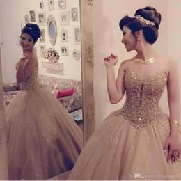 Wholesale White Quinceanera Dresses Sweetheart Neckline - Luxury Gold Sweetheart Neckline Tulle Ball Gown Quinceanera Dresses With Lace Sequin Bodice Sweet 16 Dress