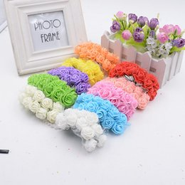Wholesale Girl Holding Roses - Wholesale- 10pcs lot Valentine Gift MIni Artificial Silk Lace Foam Rose Flower for wedding party car decoration Flower girl holding bouquet