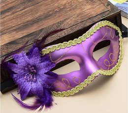 Wholesale Venice Paintings - Free shipping Fashion Mask Halloween party Venice flat band edge painted side feather flower lady masquerade show with mask