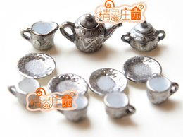 Wholesale Rement Miniature - G05-X4432 children baby gift Toy 1:12 Dollhouse mini Furniture Miniature rement-Lead-silver Art Tea 11pcs set