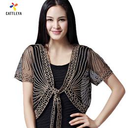 Wholesale Small Bolero - Wholesale- 2017 High quality Summer Fashion Womens Clothing Wild Perspective Small Shawl Chiffon Lace Cardigan Gauze Lacing Boleros