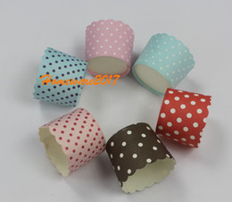 Wholesale Paper Ice Cream Cups - CUTE 50pcs Mixed Dot Round Muffin Paper baking in the oven directly CakeCup case Ice cream Candy Cups