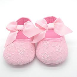 zapatos de algodón Rebajas Venta al por mayor- 2017 zapatos de Prewalker de la cinta del nudo de la mariposa-nudo del bebé recién nacido del bebé de Lovely Jelly Toddler 0-18M