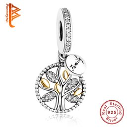 Wholesale Beads For Necklaces Bracelets - BELAWANG European Family Tree Charms Beads 925 Sterling Silver Cubic Zircon Pendant Fit Pandora Bracelet&Necklace For Women Jewelry Making
