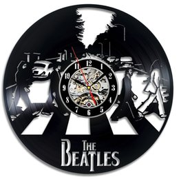 Wholesale Room Wall Decor Ideas - The Beatles Art Vinyl Wall Clock Fan Gift Children's Room Decor Idea Home Art Party Gift For Halloween