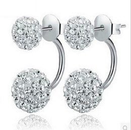 Wholesale 925 Silver Ball Earings - High quality 925 Sterling Silver Double sided Shambala Ball Stud Earrings Diamond Crystal beads Earings fine Jewelry