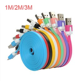 v8 cable color Coupons - 1M 2M 3M V8 Noodle Flat Micro USB Cable Data Sync Charger Cables for Samsung HTC Free DHL Shipping