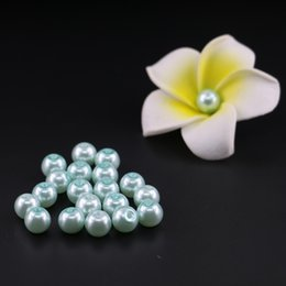 Wholesale Imitation Pearls Loose Beads - Light Aquamarine Glass Imitation Pearl Bead In Bulk 4 6 8 10mm Loose glass round pearl beads
