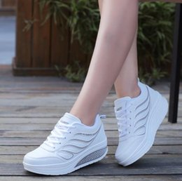 Wholesale Fitness Modelling - Autumn and winter models female sports shoes leather slope with waterproof platform fitness Yao Yao shoes increased running shoes slope