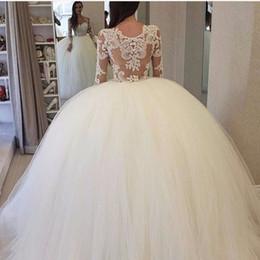 Wholesale Puffy White Corset Wedding Dresses - With Ball Gown Corset Wedding Dresses Long Sleeve Puffy Skirt Wedding Dresses 2017 Lace Applique Bridal Gowns Vestidos De Noiva