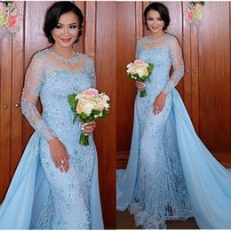 Wholesale White Cotton Evening Dress - Light Blue Long Sleeve Mermaid Evening Dresses Appliques Two Piece Lace Formal Evening Gowns With Detachable Skirt Vestidos Arabic Dress