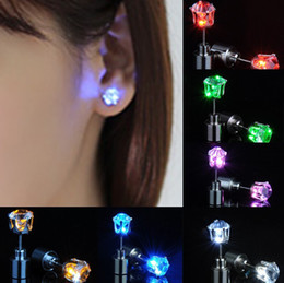 Wholesale Rhinestone Dance Earrings - 1 Pair Light Up LED earrings Studs Stainless Steel Earrings Studs Dance Event & Party Supplies Accessories unisex for Men Women