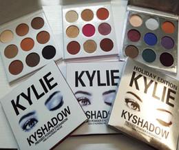 Wholesale Burgundy Satin - Kylie Bronze Kyshadow Burgundy Pressed Powder Eye Shadow Palette Makeup Kylie Jenner Holiday Kit Cosmetics 9 Colors Eyeshadow free shiping