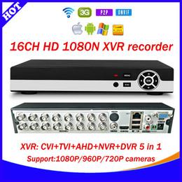 Wholesale Dvr Ip Channel - Hot 16CH 1080N XVR CVI TVI AHD NVR DVR 5 in 1 CCTV Video Recorder Onvif Network 16 Channel IP NVR 1080P P2P cloud xmeye