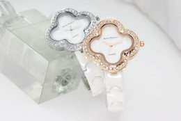Wholesale Clover Shaped Watches - Four leaf clover ceramic watch round diamond contracted fashion high quality for 2017 spring style woman wrist table