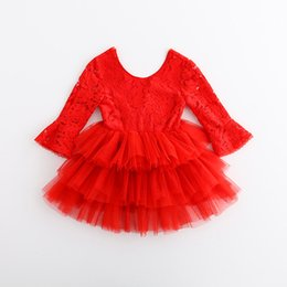 Wholesale Crochet Baby Novelty - 2017 Christmas Red Lace Dresses Baby Girl Hallow out tutu dress Kids girl princess party dress children's crochet clothes