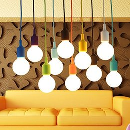 Wholesale White Pendant Light Bulb Holder - Art Silicone Home Ceiling Pendant Lamp Light Bulb Holder Hanging Fixture base Socket American Modern retro single head Colorful