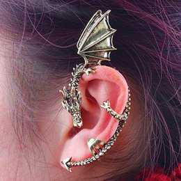 Wholesale Vintage Dangling Ear Cuffs - Hot Sale 1pc Womens Vintage Antique Bronze Punk Metal Dragon shaped Bite Earrings Ear Cuff Free Shipping