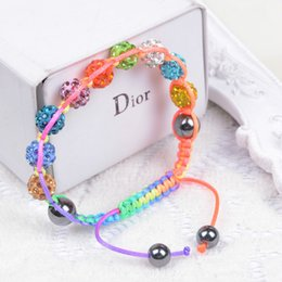 Wholesale Shamballa Rope - New Fashion Jewelry Beaded Bracelets For Women 9 Balls 10 mm Crystal Beads Shamballa Charms Bracelets