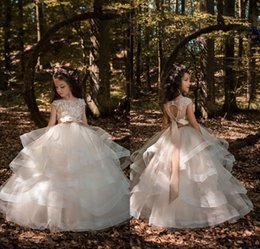 Wholesale Graduation Dresses For Teens - 2018 New Princess Light Champagne Flower Girl Dresses with Sash Beaded Appliqued Kids Prom Party Dress Pageant Gowns for Teens