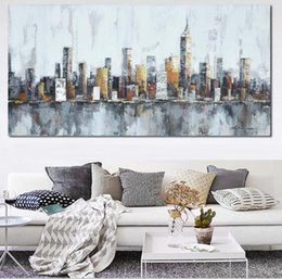 Wholesale Canvas Wall Art New York - 2016 New York Skyline Cityscape Architecture Abstract Wall Art Oil Painting on Canvas Paint Home Room Decoration Industrial