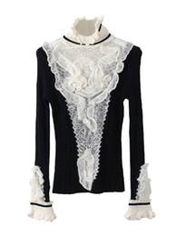 saltador de lã de qualidade Desconto Atacado-ruffles gola de pulôver jumper camisola mulheres de alta qualidade marca inverno flare manga suéter de lã do vintage