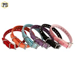 Wholesale Fashion Dog Collars Leashes - Fashion PET supplies dog collars crystals PU leather adjustable collar small dog puppy leash collars 8 colors wholesale free shipping