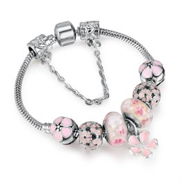 Wholesale Hot Pink Silver Ring - Hot Pendant Bracelets Pink Flower Bead Lock Charms Romantic Gift Fit Original Bracelets For Women Bracelets & Bangles AA124