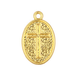 Wholesale Diy New Oval Plated - New Arrival Religious Cross Antique Gold Plated Ellipse Oval Shape Charm DIY Necklace&Bracelet