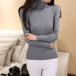 Wholesale Women Tight Collar - Wholesale-Women's High Collar Shirt Collar Tight Sweaters wool Sweater Cashmere Sweater Thick pullover