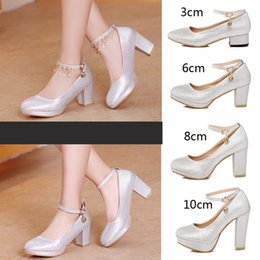 Wholesale Thick Heel Bridesmaids Shoes - Slipper shoes female thick with the bride marriage silver high heels with lace-up waterproof in the white wedding dress bridesmaid shoes