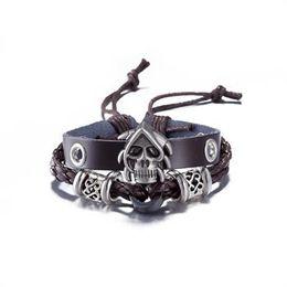Wholesale Men Cuff Links Animal - Wholesale Genuine Leather Bracelet Antique Silver Animal Pendant Rope Chain Charms Wrap Bracelet For Women Men FSH094