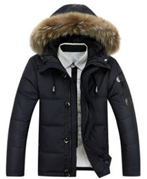 Wholesale Duck Feather Coats Men - New Winter Parkas Good Quality Warm Hooded Zipper Single Coat For Man