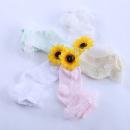 Wholesale White Socks Ruffles - Wholesale-Summer Children Retro Style Lace Ruffle Frilly Ankle Short Socks Ladies Princess Girl Cotton Breathable Thin Socks 2641