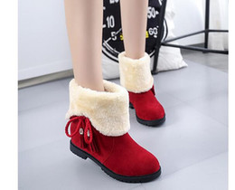 Wholesale Skins Half - 2017 autumn and winter new women thick plush boots sweet matte skin two students wear thick inside the boots boots size 35-40