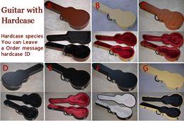 Guitarra de conchas on-line-Multi Preto Marrom De Couro Branco / Amarelo Nylon LP 7 V TELE ST MÚSICA HOMEM Guitarra Elétrica Hardcase Hard Case Shell Alternativa Multi Interior