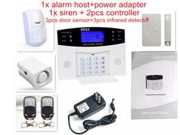 alarme de zone à la maison Promotion Vente en gros- 8 Wired Zone de défense LCD Display Home GSM voix système d'alarme avec capteur de porte PIR détecteur interphone moniteur sans fil quadri-bande