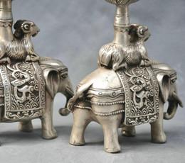 Wholesale Bronze Statues Wholesale - 10'' China Silver Bronze pair elephant candle stick Bronze Statue