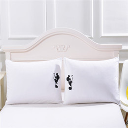 Wholesale Mickey mouse Shadow Pillow Case Plain Printed White Body Pillowcase Cover Valentine s Day Gift a Pair cmx75cm cmx90cm Size