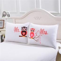 Valentine um por atacado on-line-Atacado-BeddingOutlet corpo fronha Mr and Mrs Owls romântico fronha capa de travesseiro macio presente de dia dos namorados têxteis lar um par